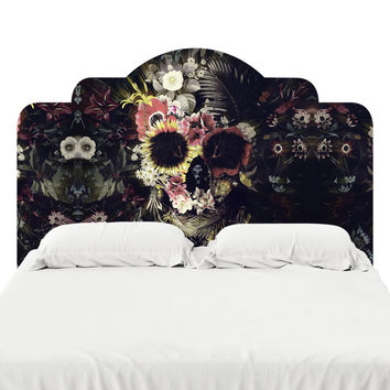 Warped Garden Skull Headboard Decal
