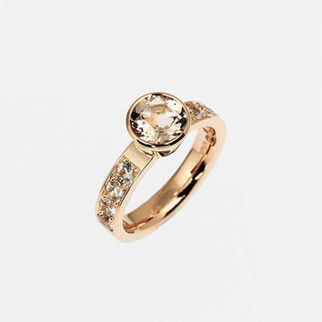 1.91ct Peach morganite engagement ring, bezel, rose gold engagement, white sapphire, yellow gold, white gold, unique, morganite wedding