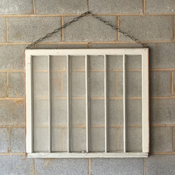 Vintage 6 Pane Window Frame w/ Chain - 31 x 36, White, Rustic, Antique, Wood, Wedding, Engagement, Home, Photos, Picture Frame, Holiday