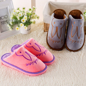 Lovely Cartoons Cotton Thick Crust Anti-skid Couple Slippers [9067740484]