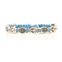 Miraculous Mary Blessing Bracelet Light Blue with Silver Metal