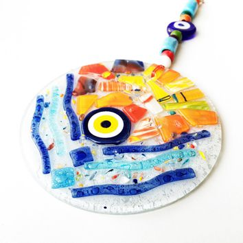 mosaic wall art, mosaic evil eye wall hanging, evil eye ornament, lampwork turkish evil eye