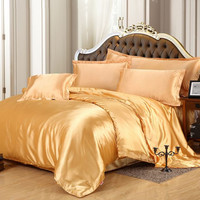 Classic imitate silk feel satin plain solid duvet cover bed sheets set