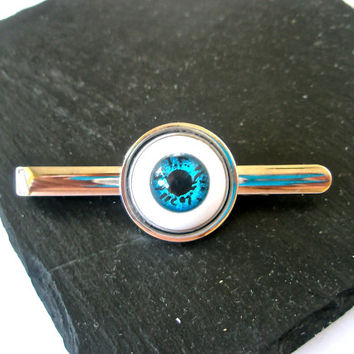 SteamPunk Tie Pin Tie slide Tie Clip Tie Bar Gothic Blue Eye  Unique Accesories altered art