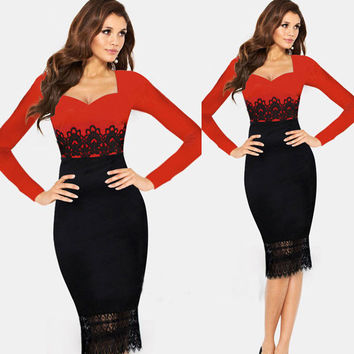 Sexy Lace Stitching Long Sleeve Midi Dresses