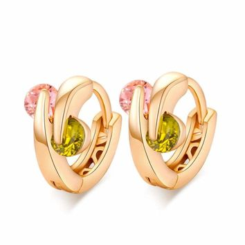 Woman Fashion Gold Plated Crystal Dangle Hoop Colorful Double Ball Earrings