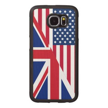 American and Union Jack Flag Wood Phone Case