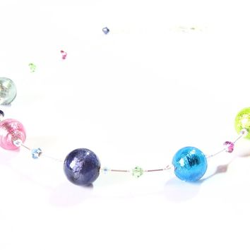 Murano Glass Colorful Chunky Ball Sterling Silver Necklace