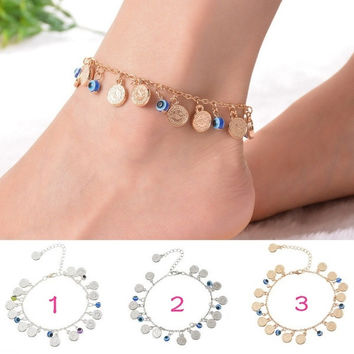 1PC Bohemian Evil Eye Coin Charms Silver Anklet Foot Anklet Summer Jewelery = 1928357508