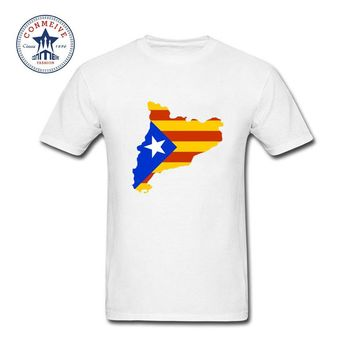 2017 Various Colors Funny Cotton Catalonia Map With Flag Tee Funny T Shirt for men