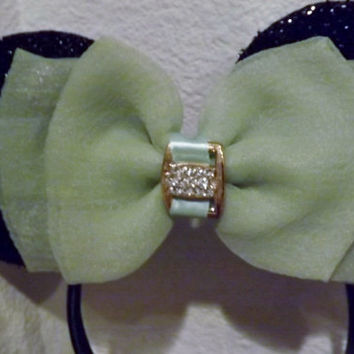 Black Minnie Mouse Ears Headband Mint Green Bow with diamond charm Mickey Mouse Ears, Disneyland, Holiday Mouse Ears  FAST SHIPPING