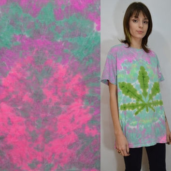 Pot Leaf Shirt Tie Dye Men MED Soft Grunge Hippie Pastel Pale Tie Dye Handmade Unisex Womens Clothing Short Sleeve 420 Sativa Diva Tumblr