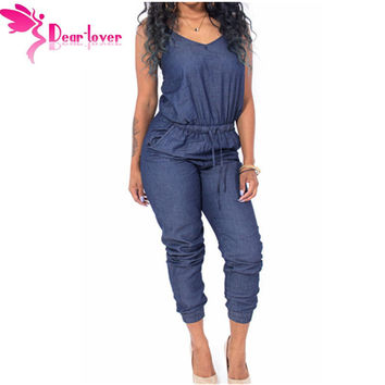 Dear Lover Overalls Women Stylish 2016 Playsuits Blue Stylish Womens Sleeveless Denim Jumpsuit Macacao Feminino Comprido LC64062