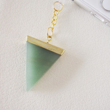 Green Aventurine triangle stone quartz crystal dust plug charm iphone 6 6S 6 Plus 5S Galaxy S6 S5 cellphone phone druzy reiki charms MONEY