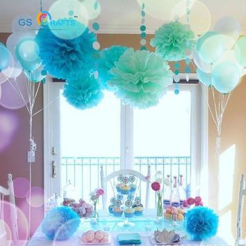 "30pcs 4"" 6"" 8""(10cm 15cm 20cm) decorative Tissue Paper Pom Poms Mix Color Flower Balls Pompom for Wedding party home Decoration"