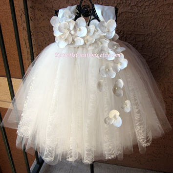 Ivory Lace Tutu Flower Girl Dress / Christening Gown / Baptism Gown