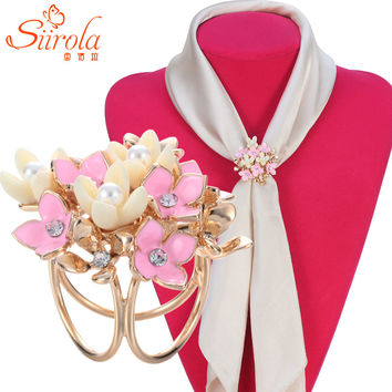 Beautiful fashion Three ring Gold plated Imitation pearl Czech diamond hand painting flower Scarves Scarf buckle clips Brooches