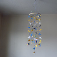 Airplane & Star paper mobile. Baby Nursery mobile,Crib mobile,Happy Birthday.