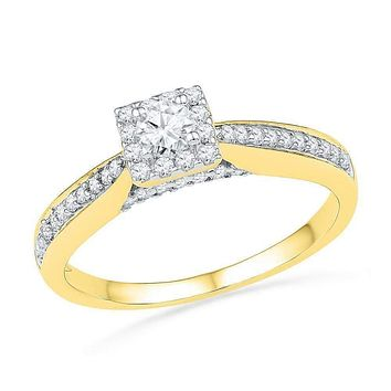 10kt Yellow Gold Women's Round Diamond Solitaire Square Bridal Wedding Engagement Ring 1/2 Cttw - FREE Shipping (USA/CAN)