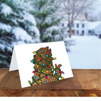 Bearded Dragon Christmas Card, Lizard Christmas Card, Hand Drawn Card, Illustrated Greeting Card, Lizard Tangled Lights, Reptile Christmas