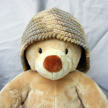 Crochet Cloche Cotton Brown Tan Gray 22 Inch by CroweShea on Etsy