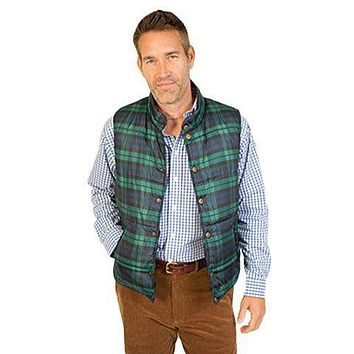Micro Puff Reversible Vest in Blackwatch Tartan  by Castaway Clothing - FINAL SALE