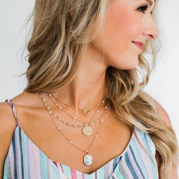 She's Got it All 3 Tier Necklace- Rose Gold