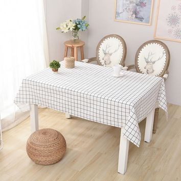 Fudiya Simple Tablecloth Cotton Linen Nappe Large Lattice Table Cover Countryside Table Cloth Accept Custom For Restaurant