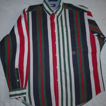 41c6a9526 Vintage Tommy Hilfiger Color Block Striped Shirt Size L