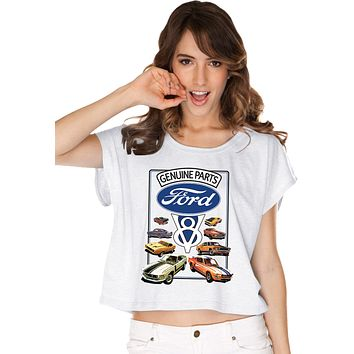 Ladies Ford Mustang T-shirt V8 Collection Boxy Tee