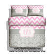 Chevron Bedding Duvet Cover or Comforter - Chevron and Damask Soft Gray and Pink bedroom -  Personalize Monogram - Pick Your Color and Size