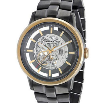Kenneth Cole Mens Automatic Watch - Gunmetal and Gold-Tone - Transparent Dial