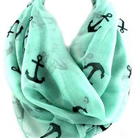 Infinity Anchor Print Scarf, Mint