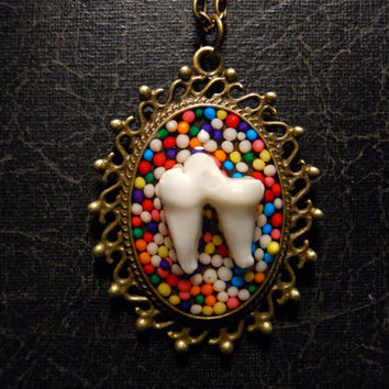 Sweet Tooth Real Fox Tooth Candy Cameo Necklace