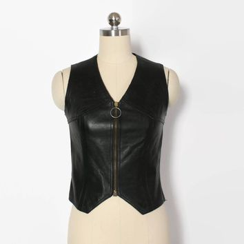 Vintage 60s Mod Leather Top / 1960s Black Soft Leather Zip Front Vest