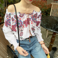 The new floral shawl long sleeves top