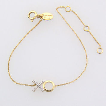Diamond XO Bracelet - 14K Solid Gold Hugs and Kisses