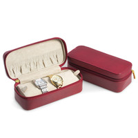 """Red """"Lizard"""" Leather Watch and Bracelet Case"""