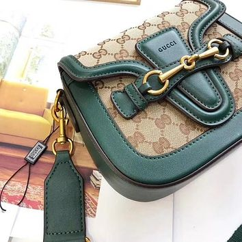 GUCCI Web GG Monogram Canvas Shoulder Bag