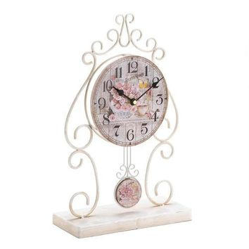 Country Rose Tabletop Clock V121-10018004