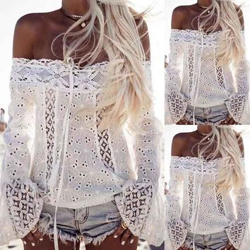 Womens Off Shoulder Flare Long Sleeve Cotton Lace Loose Blouse Tops T-Shirt US