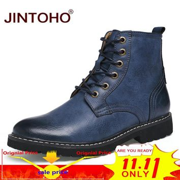 JINTOHO Genuine Leather Winter Shoes Fashion Men Winter Boots Pointed Toe Mid-Calf Boots For Men Male Genuine Leather Boots