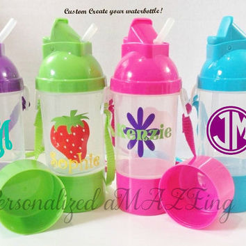 Personalized Water Bottle, Kids Personalized water bottle, Party Favor, Monogram waterbottle,waterbottle and snackcontainer, Personalized