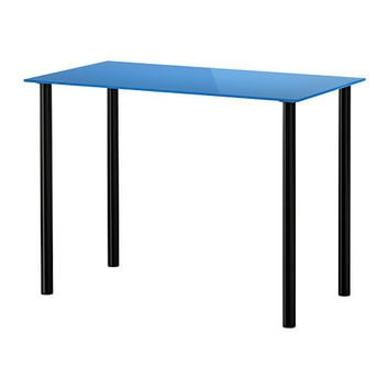 "GLASHOLM/ADILS Table, glass blue, black - 39x20 1/2 "" - IKEA"