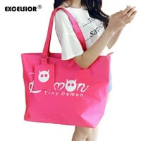 EXCELSIOR Women Shopping Handbag Waterproof Shopping Tote Zipper Sac A Main Lady Casual Purse Oxford Beach Bags Bolsas Feminina