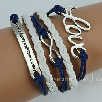 Infinity  LOVE Charm Bracelet&Motto(Engraved Where There's a Will There's a Way) Bracelet, Navy wax Cords,White Braided leather cords CB-8-1