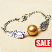Golden Snitch Bracelet In Silver Steampunk Harry by touchsoul