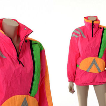 Vintage 80s Neon Ski Jacket 1980s Obermeyer New Wave Green Hot Pink Orange Reflective Silver Graphic Snowboard Coat / Juniors 16 / Small