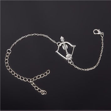 Silver Link Chain Bracelet with Bow and Arrow Pendant for Women