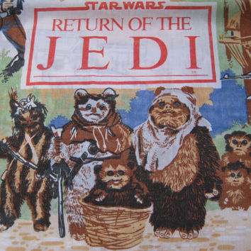 Vintage Star Wars 1983 Return Of The Jedi Episode VI Twin Size Flat Sheet Craft Fabric Clean